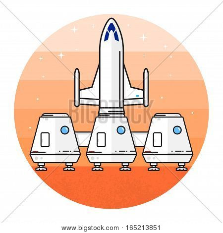 Space house for living on the red planet. Human mission to Mars. Space future home for humans on the Mars. Thin line icon. Vector Illustration.