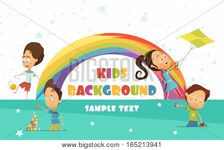 Playing kids cartoon background with rainbow and activities symbols vector illustration