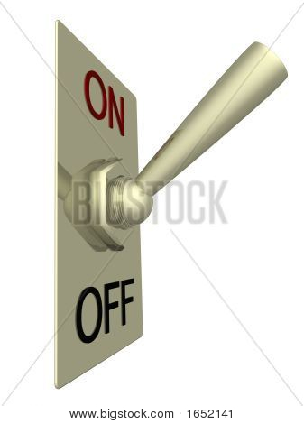 The Electric Switch On A White Background. 3D Image.