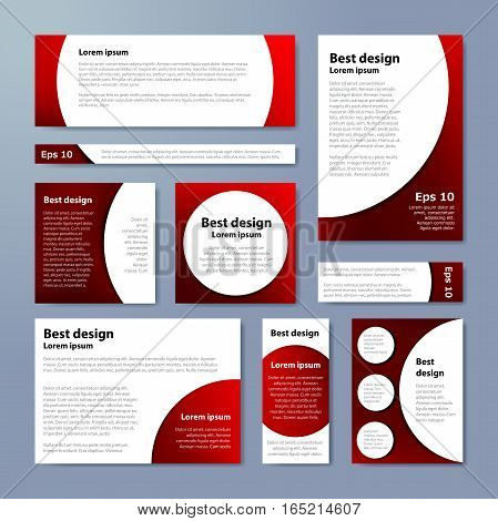 Red Corporate Identity Design Template Circles. Vector Company Style For Brandbook