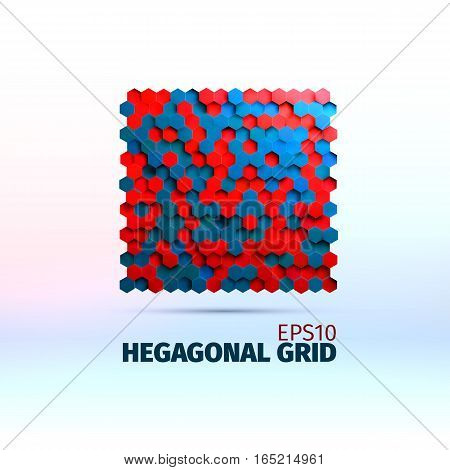 Hexagonal graphic element. Vector grid of hexagons. 3d illustration for web or printing