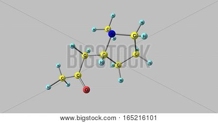 Hygrine is a pyrrolidine alkaloid found in coca. Hygrine usually occurs along with other more potent alkaloids such as atropine or cocaine. 3d illustration