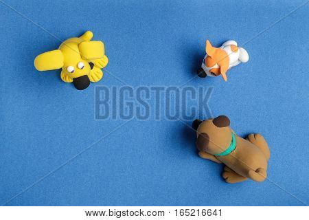 Dogs from plasticine on a blue background the top view