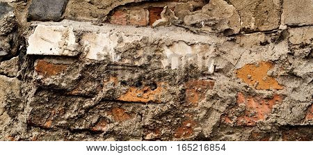 The image is poorly done brickwork. Bad work. Close up of badly bricks. Brick wall. Grunge brick wall.