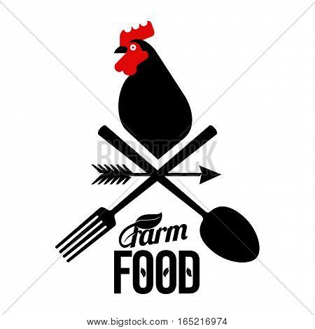 Farm Logo With A Rooster And  Farmer's Tools