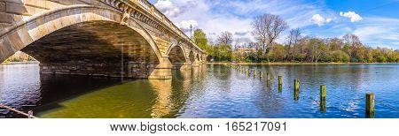 Panorama of the Serpentine Bridge at Hyde Parl London UK