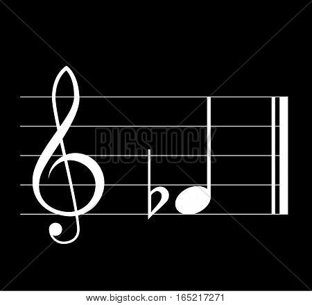 Flat musical symbol with note treble clef and staff on black