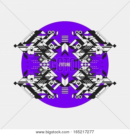 Abstract Symmetric Design Element On Violet Circle. Futuristic Design, Useful For Prints And Posters