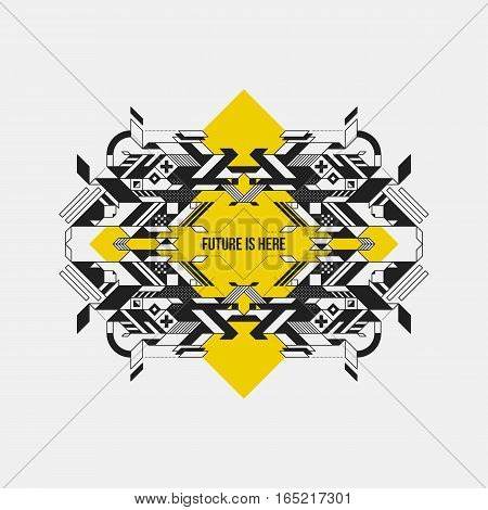 Abstract Symmetric Design Element On Yellow Rhombus. Futuristic Design, Useful For Prints And Poster