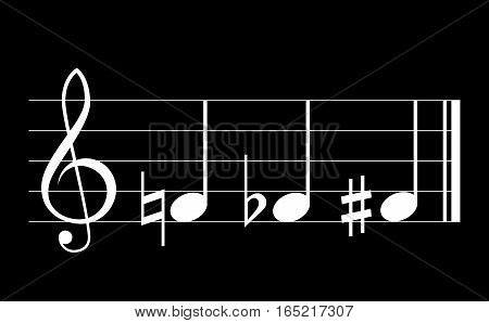 Flat sharp and natural musical symbols with note treble clef and staff on black