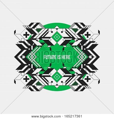 Abstract Symmetric Design Element On Green Circle. Futuristic Design, Useful For Prints And Posters.