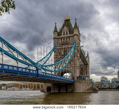 Tower Bridge London on a cloudy day