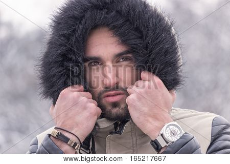 One Young Man Cold Winter Outdoors Head Face Close Up
