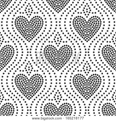 Shiny dot art black and white heart seamless pattern, vector background
