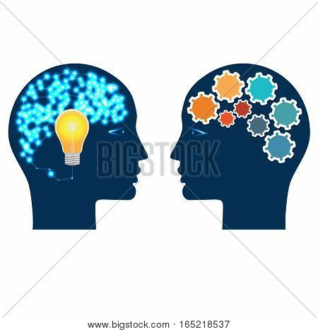 Heads of two people with gears bulb and abstract brain for concept of idea and teamwork