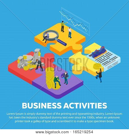 Business activities flat 3d isometric banner. Man to mine gold coins. Search for investors. Business planning. Stock quotes. People in different poses at work. 3d puzzle pieces. Vector illustration