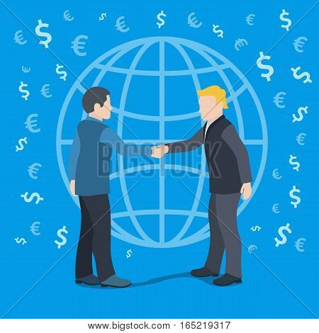 Vector banner in a flat style. Two men shaking hands on a background of the globe. Business people in suits. Concept of partnership. Template for advertising and web. Vector Illustration.