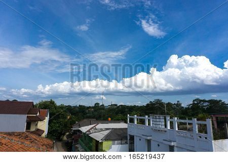 A beautiful white cloudy sky photo taken in Jakarta Indonesia java