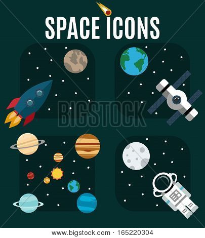 The planets of the solar system astronaut rocket on a background of outer space