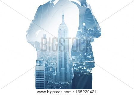 Thoughtful business people on New York city background. Research concept. Double exposure