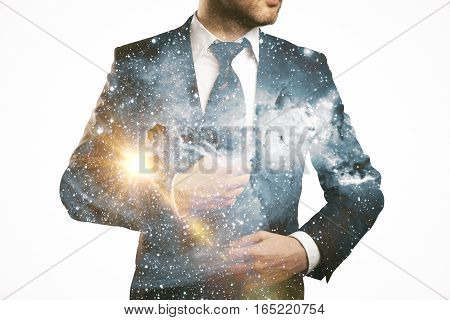 Confident businessperson in suit on abstract space background. Double exposure.