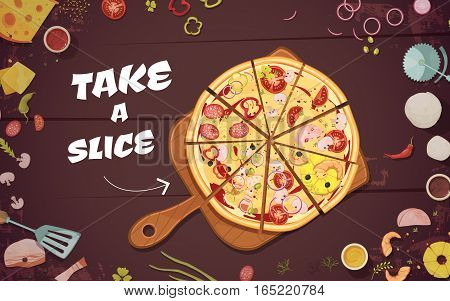 Advertising of pizza with slices on culinary board and ingredients on wood background cartoon vector illustration