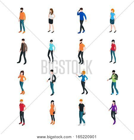 Modern society template with different colorful male and female characters isolated vector illustration