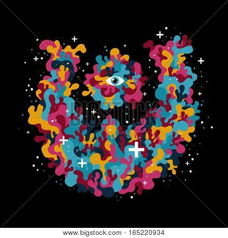 Isolated Illustration With Funky Liquid Creature. Useful For Presentations And Advertising.