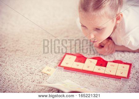 Cute Little Girl Study Mathematics