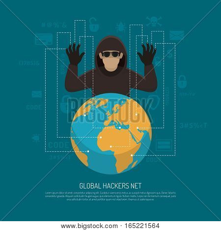 Hackers threat warning flat poster with black criminal man figure behind terrestrial globe.