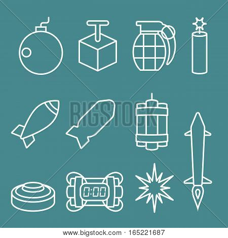 Vector bomb and dynamite icons set,thin line