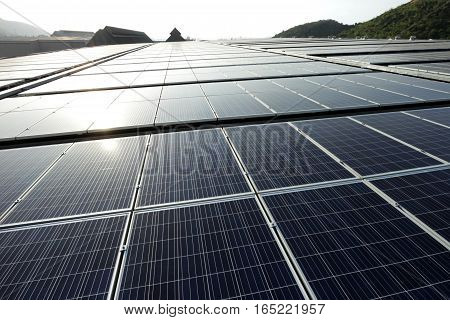 Large Scale Solar PV Rooftop Sunset Backlight