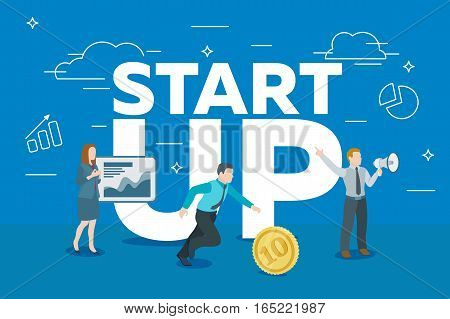 Startup work moments. The presentation search for investor promotion. The woman at the blackboard with infographics man running for the coin a man with a loudspeaker. Ve