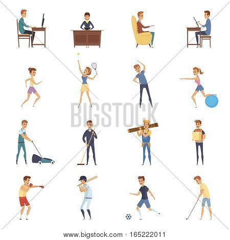 Physical activity and lifestyle isolated icons set with cartoon characters doing sedentary physical and sport activities vector illustration