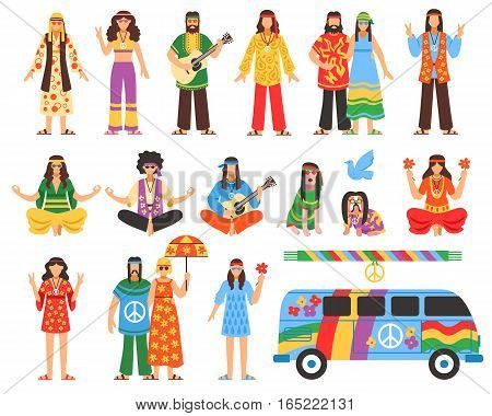 Hippie isolated decorative icons set with young people in ethnic clothes musician with guitar painted van and symbols of peace flat vector illustration