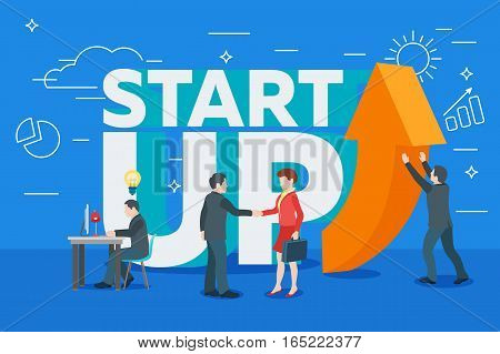 Business startup work moments flat banner. New ideas search for investor increased profits. Vector illustration of a business situation. Businessman and businesswoman enter into a contract