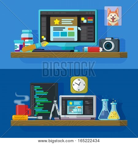Set of flat color banners design concepts for web studio. Website development Web design. Modern flat design for Web Banner Website Element. Workspace designer and programmer. Vector illustration