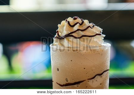 Delicious Frappe Coffee Glass With Cream