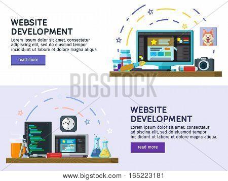 Flat design modern vector illustration concept. Set of flat color banners design. Website development Web design. Modern flat design for Web Banner Website Element. Programming and coding.