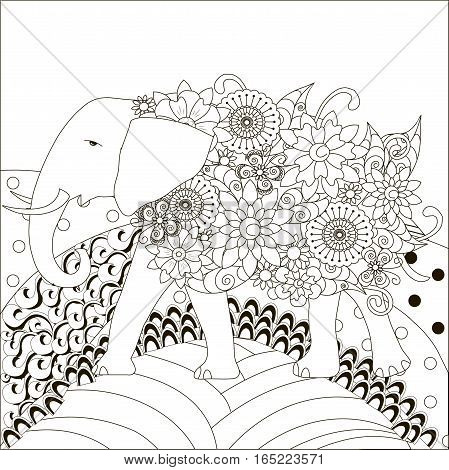 Zentangle hand drawn black and white elephant on hills, anti stress vector illustration