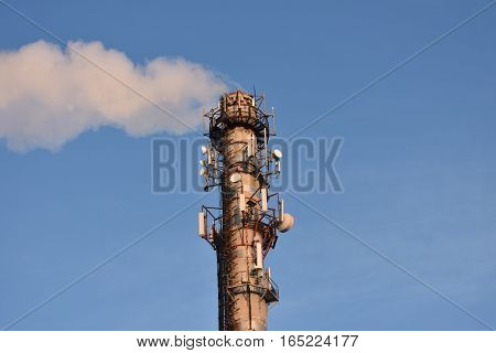 gas pipeline thermal power station on blue sky background