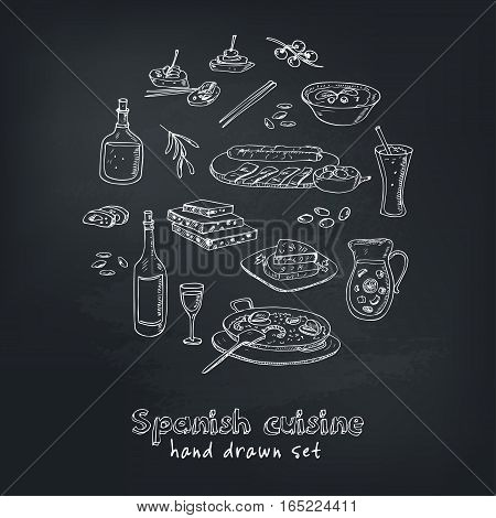 Vector hand drawn set of spanish cuisine: soup, liver in garlic Paella, meal with rice and seafood, fried cookie churros. Vintage illustration for design menus, recipes and packages product.