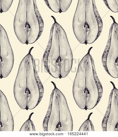Seamless pattern with cut pears drawn by hand with pencil. Healthy vegan food. Fresh tasty fruits painted from nature. Tinted black and white