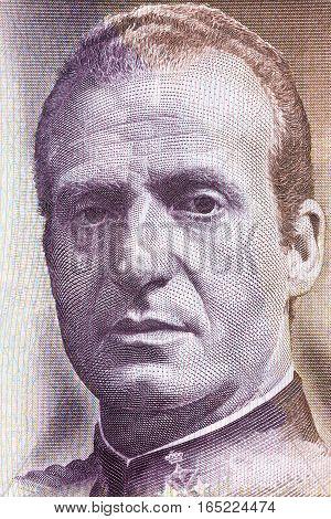 Juan Carlos I of Spain portrait from Spanish money