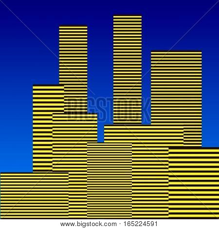 Abstract city vector illustration on blue sky background