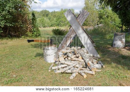Sawhorse axe chopping blocks and chopped birch logs on the grass