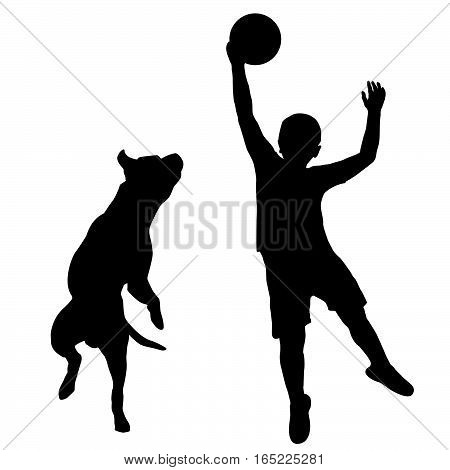 Silhouette of boy and dog playing together