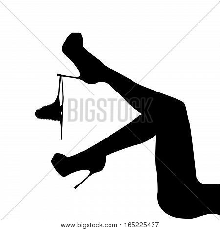 Silhouette of women's leg with panties hanging on it
