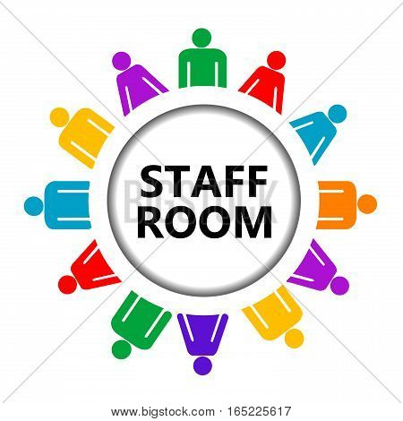Staff room icon with stylized group of people