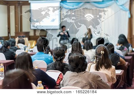 Business Globalization Connection Technology Concept : Asia People Listen In Seminar